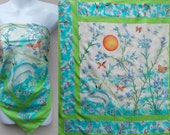 Vintage 90s Resist Dyed Painted Silk Scarf with Herons and Butterfly motif / Large Square headscarf / bandana or neck - shawl