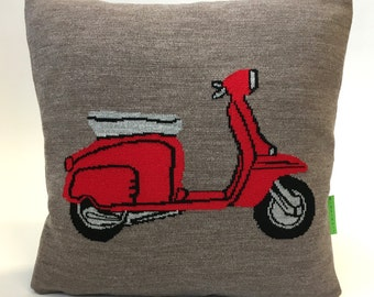 The MOD Scooter Pillow - Mods vs Rockers - Knitted Cushion
