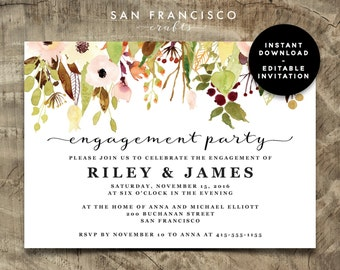Engagement Party Invitation INSTANT DOWNLOAD |  Editable Engagement Party Invite Template | fall, floral | Riley Collection | Printable PDF