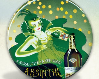 Absinthe Pernod Fairy Pocket Mirror