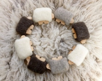 Wood sheep with removable wool coats waldorf toys ready to ship