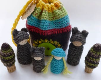 Goldilocks and the three bears play set wood peg dolls Storytelling Peg dolls