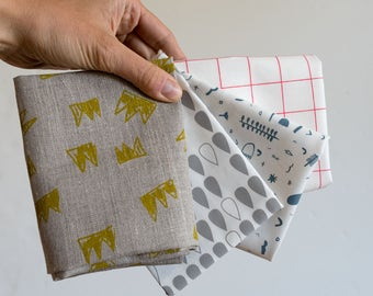 SPECIAL! 4 x screenprinted fabric fat quarters, fabric designed and made in Melbourne. Flax linen, organic cotton.