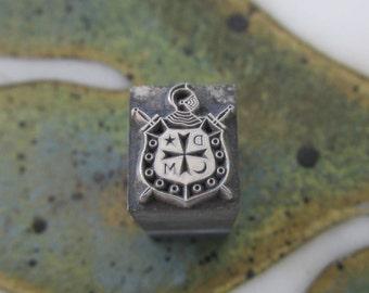 Order of Demolay Emblem Vintage Letterpress Printers Block