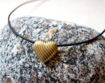 Brass Heart Necklace - Heart Choker- Heart Necklace - vintage brass heart pendant  - black leather cord - Valentine's Day Jewelry