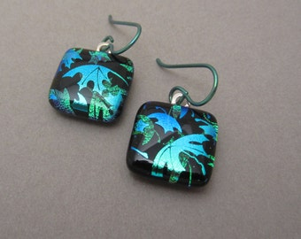 Emerald green double leaf dichroic glass earrings fused glass jewelry hypo allergenic niobium ear wires leaves