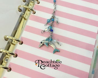 Dolphin Planner Charm or Beaded Scissors Fob - Dolphin Purse Charm - Recollections Planner Accessory - Planner Bling - Ready to Ship