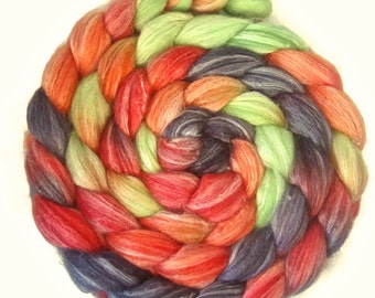 Handpainted Merino Bamboo Silk Wool Roving - 4 oz. DRAGON SCALES - Spinning Fiber