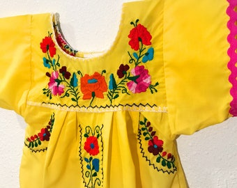 Mexican Embroidered Baby Dress Yellow Hot Pink Rickrack - Size 4