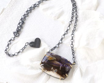 Tinfany Stone Necklace   Handmade in the UK   Sterling Silver