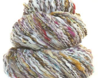 Handspun Art Yarn Merino wool yak silk sari silk sparkle