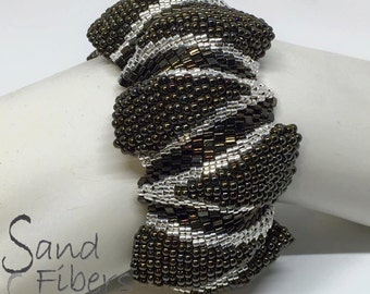 Wide Brazos Ripples Peyote Cuff - A Sand Fibers Made-to-Order Creation