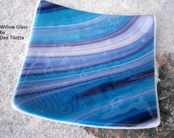 Fused Glass Dish or Serving Tray, Streaky Purple and Aqua Blue 6 inches, Willow Glass, Home Decor, OOAK