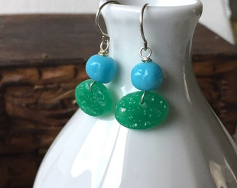 Vintage Japanese Glass earrings by Anne More. Green and blue Retro