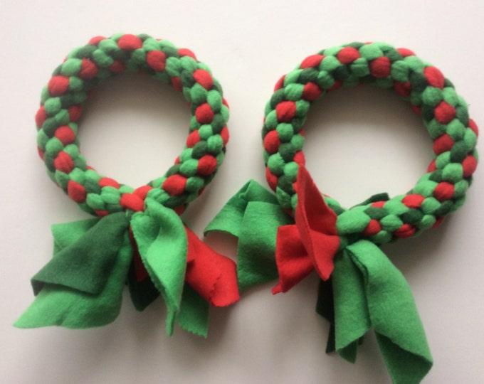 Fleece dog tug chew fetch ring toy Christmas