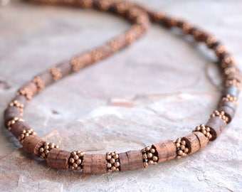 The Damon- Men's Copper and Wood Necklace