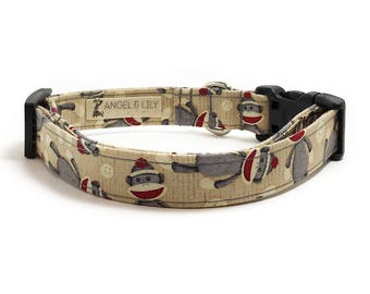 Dog Collar - Fabric Dog Collar - Sock Monkey Dog Collar - Cute Dog Collar - Dog Collar for Girl - Dog Collar for Boy - Adjustable Dog Collar