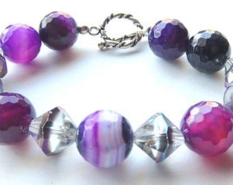 Purple Gemstone Beaded Bracelet, Purple Banded Agate and Sterling Silver,  Boho Chunky Gemstone Jewelry, Purple and Silver Bracelet