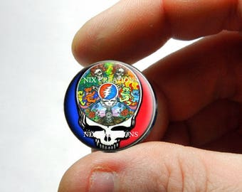 Glass Cabochon - Grateful Dead Steal Face Head Design 18 - for Jewelry and Pendant Making