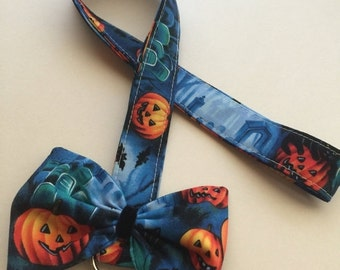 SALE - CLEARANCE- Cute bow lanyard, Fabric Neck Lanyard, Pumpkin Cute Lanyard, Bow Lanyard for ID Cards and Badges
