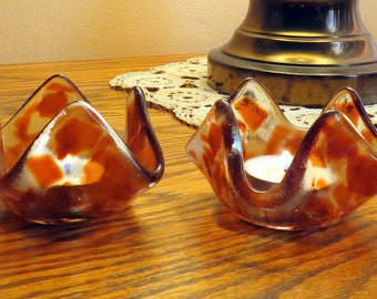 Fused Glass Candle Holders Clear Glass and Burnt Orange. Smokeylady54