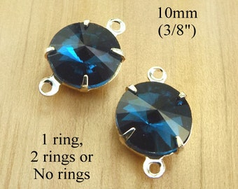 Blue Zircon Glass Beads, Glass Gems, Silver Plated Brass Settings, 10mm Rivoli, 45ss, Rhinestones, Cabochon, One or Two Rings, One Pair