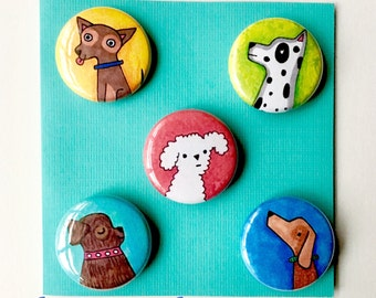 Dog Lover magnets by Lauren Ingraham set of 5 one inch