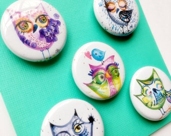 Owls Only Magnets Set of 5 small illustrations lauren ingraham