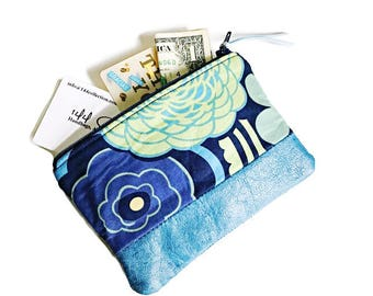 Mocca Blue Leather Pouch, Coin Purse, Zipper Pouch, Small Wallet, Change Purse, Coin Pouch