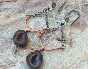 Baby GEODE earrings with Moonstone and mixed metals, silver and copper handmade by Angry Hair Jewelry