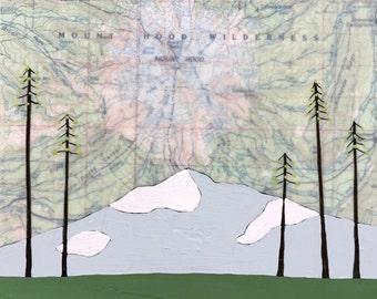 Mt Hood / 7 x 8 Map Painting / Oregon Art / Map Art / Modern Decor / Mountain Art / Cabin Art / NW Art