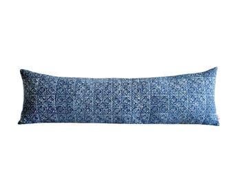 Blue Batik Indigo Hmong Textile Long Lumbar Zipper Pillow - Bohemian Long Lumbar Pillow - Boho Linen Decorative Pillow-Down Filler Included