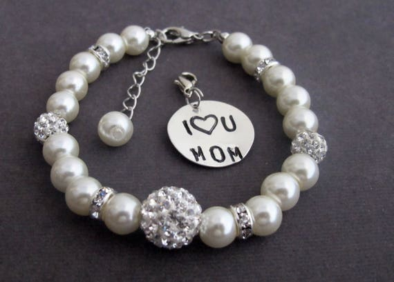 I Love You Mom Pearl Brcelet,Gift for Mom,Mother's Day Gift,Mother Jewelry,Mother of Bride Bracelet,Mother's Wedding Gift,Free Shipping USA