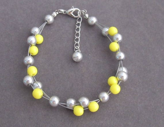 Wire Wrapped Pearl Bracelet,Yellow and Gray Pearls Bracelet,Cluster Bracelet, Bridesmaid Gift,Holiday Wear Summer Jewelry, Free Shipping USA