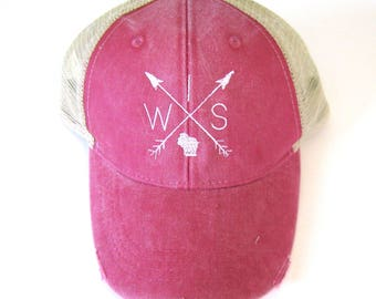 Distressed Snapback Trucker Hat - Wisconsin White on Red Arrow Compass