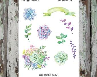 Watercolor Succulent Cactus Planner Stickers - deco - bujo - bullet journal