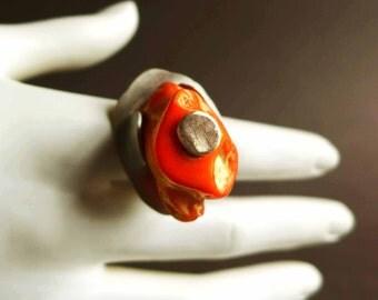 Orange Coral Ring Gemstone Ring, Statement Ring, Elemental Silver Ring, Big Orange Cocktail Ring, Modern Coral Ring, Boho Ring