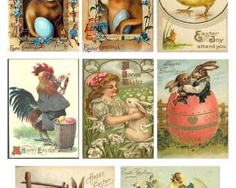 Vintage Bunny Rabbit Postcards No. 2 - Digital Collage Sheet - Instant Download