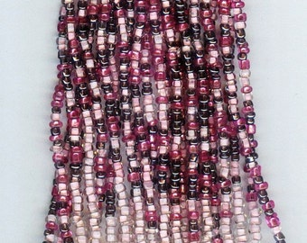 Lucious Pink & Gray Lined Mix Glass Seed Beads  10/0 1 hank