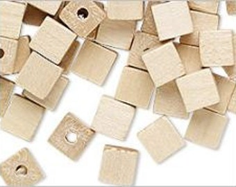 Natural Vintage German Wood Squared Off Corners Cube Beads Tan Color 6mm 50pcs