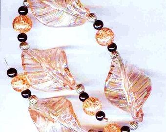Exquisite Twisted Leaf Glass Pendant Beads Apricot 9 PLUS pcs