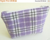 CLEARANCE SALE Purple Plaid Wool Cosmetics Bag, Makeup Bag, Zippered Pouch, Lavender and Grey
