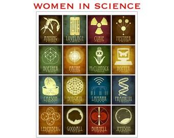 24x30 Women of Science Art Print Poster - 16 Rock Star Scientists - Ada Lovelace, Marie Curie, Grace Hopper, Rosalind Franklin, STEM Art
