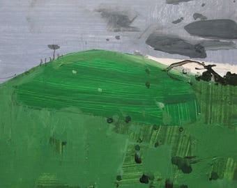 Woodlot Hill, Original Spring Landscape Collage Painting on Panel, Ready to Hang, Stooshinoff