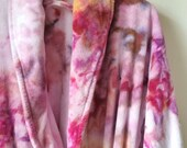 Hand Dyed Terrycloth Robe in Day Break ,  Large Patch Pockets, Pink , Anna Joyce, Portland, OR.