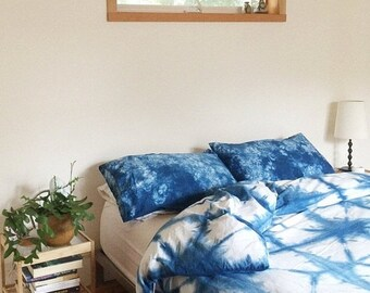 ON SALE Hand Dyed Indigo Bedding, Shibori Bedding, KING Size Duvet Cover and Two Pillow Cases, Anna Joyce, Portland, Or