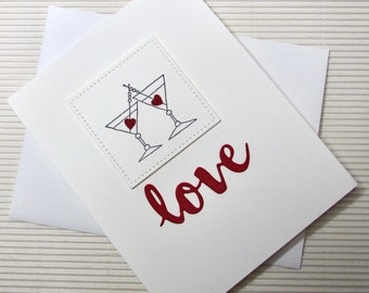 Love card handmade stamped anniversary Valentine romantic martini stationery greeting paper party