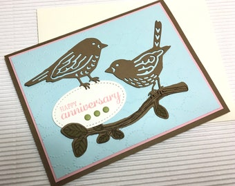 Happy anniversary card handmade stamped anniversary love birds blue brown pink stationery greeting paper party supplies