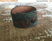 40% OFF- Tooled Leather Cuff--Turquoise Collection Design--Hand Painted