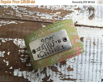 40% OFF- Stamped Leather Cuff--Word Cuff-Faded Scribblings Collection-Joy
